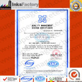 ISO9000 Certification for SuperImage Inks products(2007-2009)