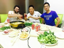Enjoy hotpot with good friend