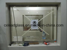 installed lead glass windows with lead frame