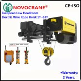 Low Headroom European Electric Wire r Rope Hoist for Single Rail Crane
