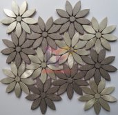 Flower brown and beige aluminium metal mosaic tiles(CFA145)