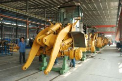 Assembling line of wheel loaders