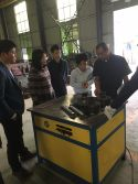 customer testing our duct machine