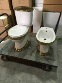 Golden Decal Ceramic Bathroom Set