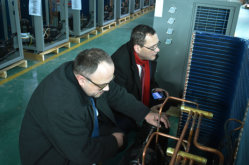 Mr. Murin of Mutne with enginer check heat pump system