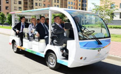 The Russian First Deputy Prime Minister Igor Shuvalov driving an HDK car in Universiade