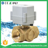 "1"" Dn25 L Port Horizontal Brass Electric Ball Control Motorized Valve 3 Way"