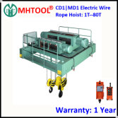 CD1 MD1 Electric Wire Rope Hoist with Double Rail Motorized Trolley Wireless Remote Control