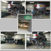 Scissor lift services in the BMW and Land Rover′s 4S shop