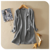 2017 New Design pure cashmere shawl knitting cardigan coat with round bottom and pockets for women