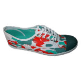 Printed Vulcanized Rubber Outsole Canvas Shoes for Girls Women
