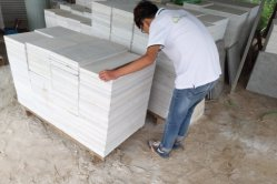 white quartzite tile inspection