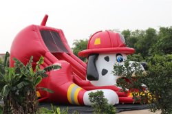 fire dog inflatable slide at Rainbow Inflatables factory