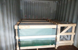 processing glass package in container