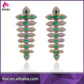 luxury micro pave green gemstone stud drop earring