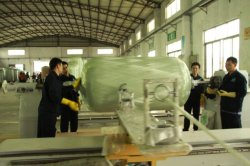 Fiber glass winding process of FRP tanks
