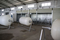PE linner processing of FRP tank