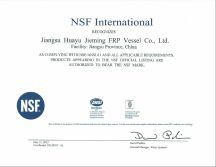 NSF certifictaes for FRP tanks