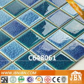 Swimming Pool Crackle Mixed Blue Ceramic Mosaic (C648061)