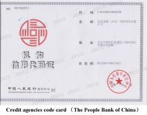 Credit agencies code card (The People Bank of China )