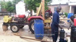 HF100T Tractor Mounted Water Well Drilling Rig At Construction Site In Tanzania