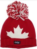 Adult Toque Jacquard Leaf Canada Winter Hat with POM POM