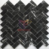 Nero Margiua marble stone in fish bone shape mosaic tile(CFS1343W)