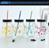 Colored Drinking Jar Glass Bottle with Lid and Handle