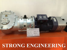 Bevel gear power unit with double brake