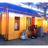 powder coating booth with reciprocator