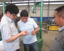 Peru customer visited our factory for pulling wire drawing machine