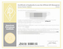 API (American Petroleum Institute) certification