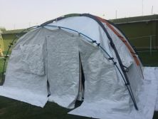 The aluminum pole of this camping tent is made by SINPO