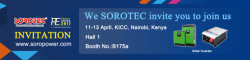 SOROTEC will attend the 2017 POWER&ENERGR Africa Exhibition in Kenya- Welcome to visit us at Hall 1