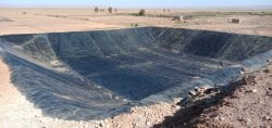 Pond liner with geomembrane