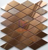Diamond rose gold stainless steel mix copper mosaic tile(CFM1139)