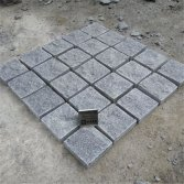 Dark grey granite cobblestone paving stone