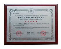 China Credit Example Certificate
