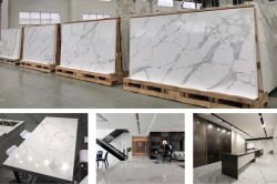 Calacatta white quartz countertop and slabs