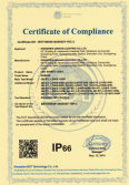 IP66 certificate of led street light