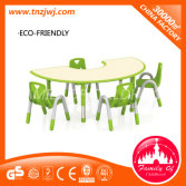 Top selling luxury moon tables wholesale plastic table and chairs set furniture for Kids