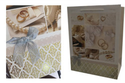 Organza bow on gift bag , gold hot stamping on bag