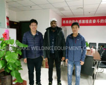South Afica customer visited our factory to see the nail making machine and gabion mesh machine.