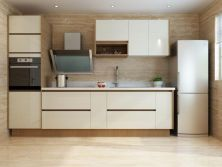 Shandong Modern Linear Style White Wooden Kitchen Cabinet