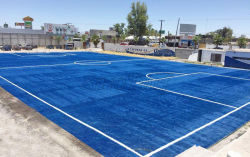 soccer field ( blue color ) in Mexico