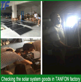 colombia customer checking solar goods in TANFON factory