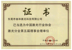 China Laser Industry Association Certification of Sanhe