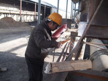 Working at machine installation site