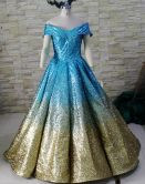 Cap Sleeves Sequins Glistter Prom Dress