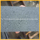 Honed Dark Grey/Black Basalt with Holes for Flooring Tiles, Basalt Tiles